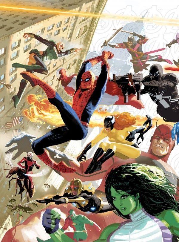 Terra 616: Homem Aranha, Gata Infernal, She Hulk, Serpente da Lua, Homem Formiga, Agente Venom, Gigante, Espadachim, Tocha Humana, Nova & Homem 3D.