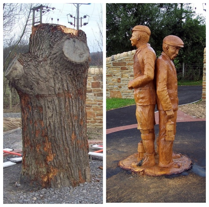 Before and after chainsaw carved miners treesculpting