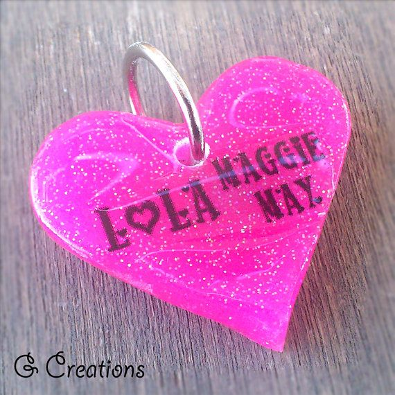 BLACK FRIDAY SALE 25% off #discount #coupon #code BLACKFRIDAY2014 Heart Dog Tag  Custom Color  3.8cm  Glow in by GabriellesCreations