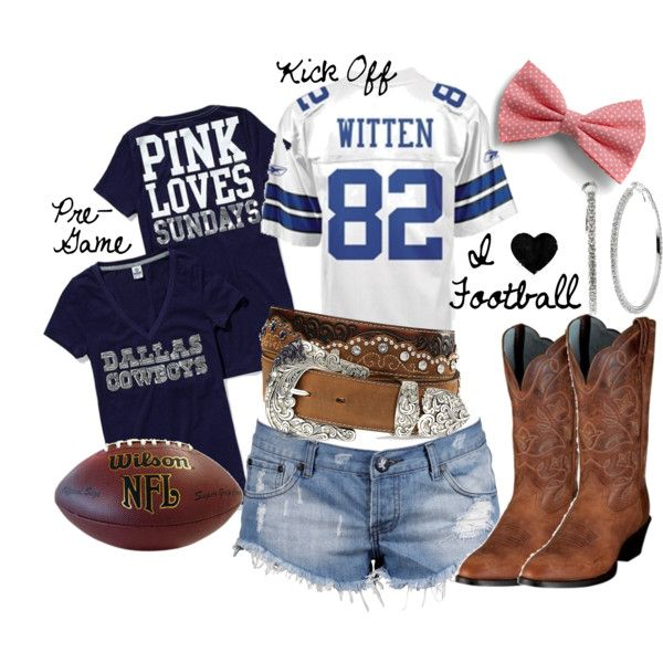 Dallas Cowboys Game, created by gypsycowgirl on Polyvore---- definitely gonna need a cute outfit for the game in September!