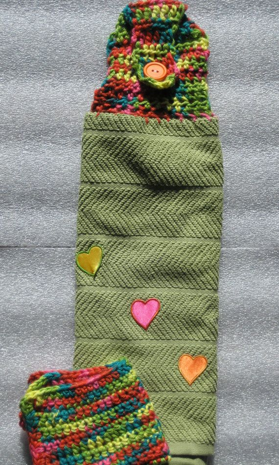 Green and rainbow kitchen towel with heart by twogoldengirls
