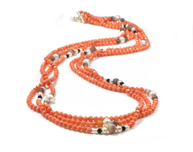 Neige Jewellery - SIL 3 ROW CORAL PEARL