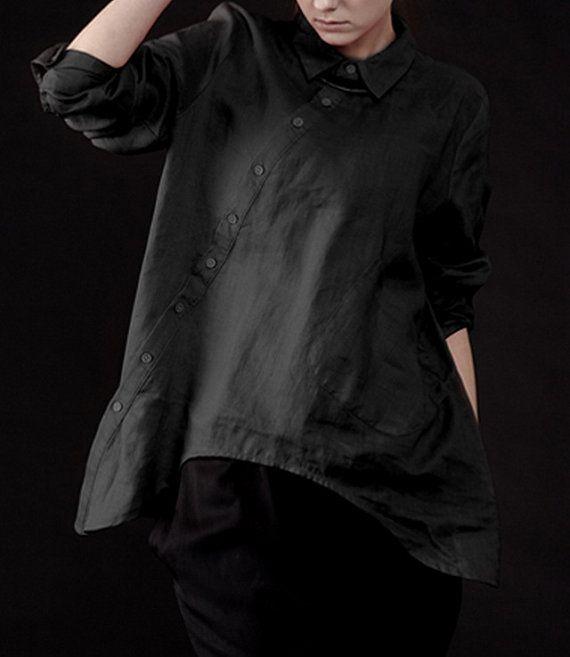 Irregular Hem Long Sleeve Linen Shirt CustomMade Fast by zeniche