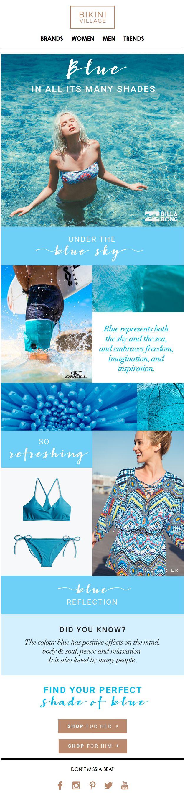 Colour specific content style email design from Bikini Village