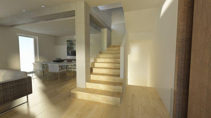 Beautiful wooden staircase with glass division.  Scala moderna in legno con vetro. @ Simone Cammillozzi architect
