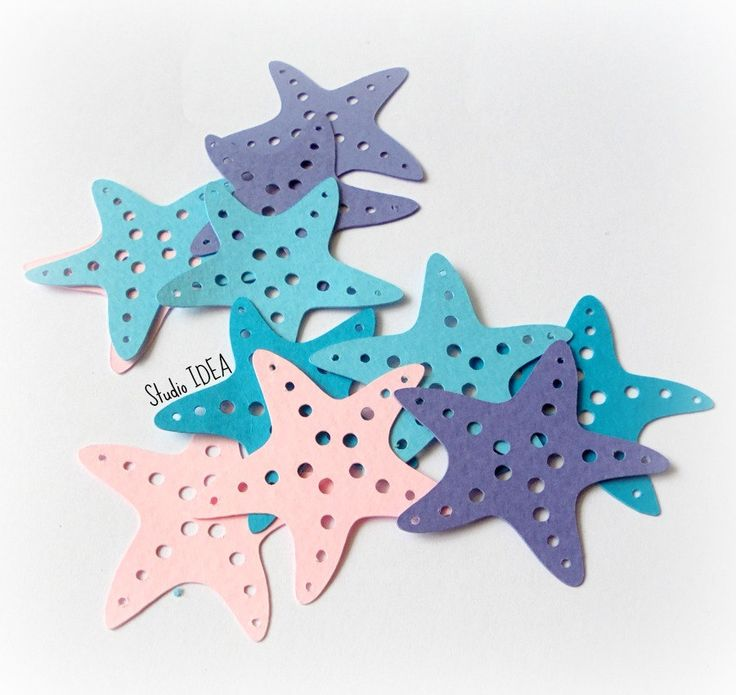 "Mixed Blue, Pink, Lavender Star Fish 2"", 4"" or 5"" Sea Theme Confetti, Cut outs…"