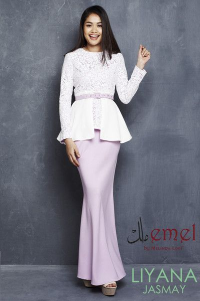 EMEL X LIYANA JASMAY - LAYLA - MODERN PEPLUM WITH LACE (PURPLE)  Say goodbye to typical peplum baju kurungs! This one-of-a-kind peplum features double layers of lace and polyester crepe. Exquisite lace on the top body and sleeves are perfectly complemented by an adjustable belt included with purchase (removable).