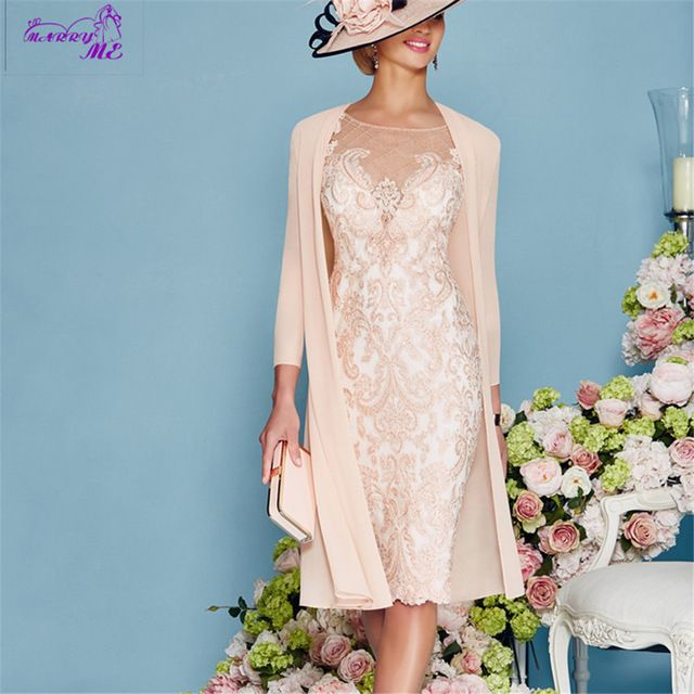New Arrival Elegant 2016 Lace Full Sleeves Knee Length Sheath Mother Of The Bride Dresses With Jacket US $155.00  Click link to buy other product http://goo.gl/p8JMyk
