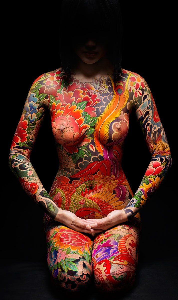 A Japanese full body suit tattoo.