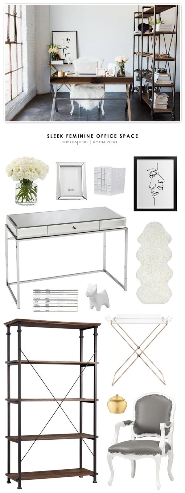 A sleek, feminine office featured in Domino Magazine and recreated for less by Copy Cat Chic. by @audreycdyer