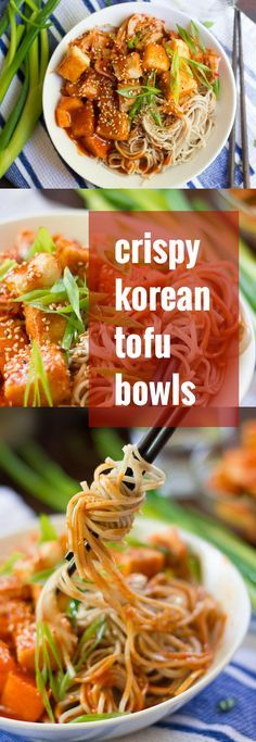 These these sweet and spicy Korean tofu noodle bowls couldn't be easier to whip up, or more delicious! Dress some soba noodles and crispy pan-fried tofu cubes in gochujang sauce, serve it up with pineapple chunks and kimchi, then dig in.