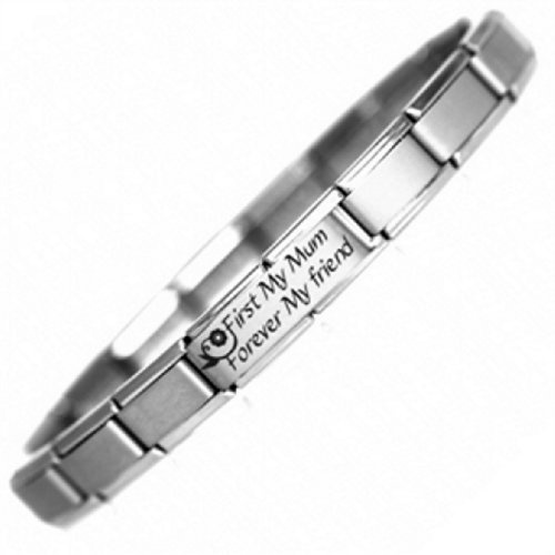 1st My Mum Nomination Style Italian Charm Bracelet - One size fits all -Ideal Mothers Day Gift - Stainless Steel by JSC Jewellery, http://www.amazon.co.uk/dp/B0070YTBWW/ref=cm_sw_r_pi_dp_-yGnrb1QY6W8S
