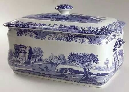 Blue and white bread bin