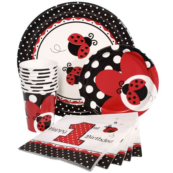 Cups, plates, and birthday napkins! All with perfectly matching ladybug pattern!