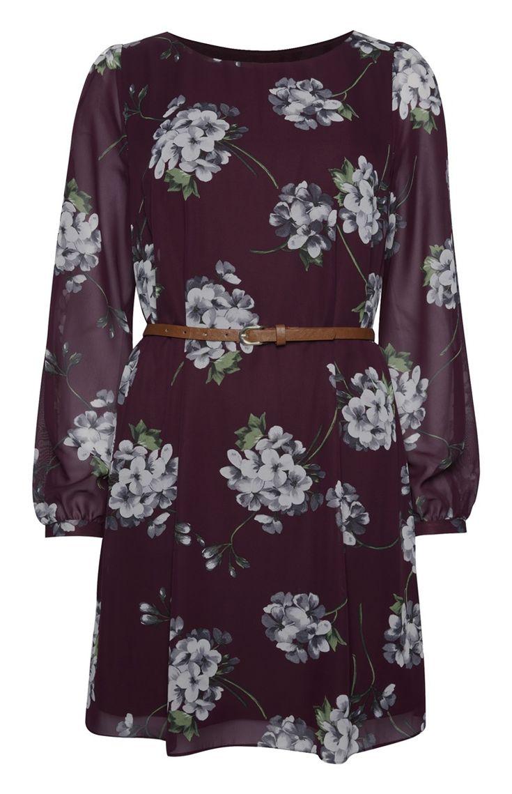 Primark - Plum Floral Print Chiffon Belted Dress