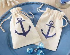 """Voyages"" Anchor Muslin Favor Bag (Set of 12) Wedding favors, nautical wedding,  beach wedding"