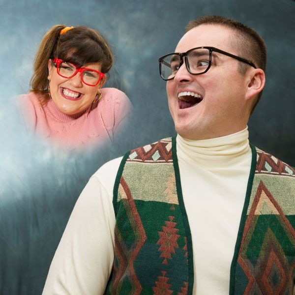 We can't get enough of this funny engagement photo with 1980s portrait studio styling.