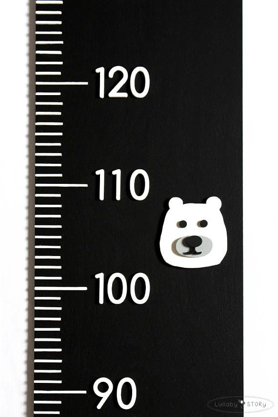 Chalkboard wooden growth chart Growth chart with bears