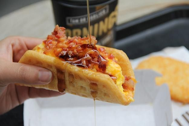 """Taco Bell Takes Aim at McDonald's with Breakfast~Egg McMuffin, meet the Waffle Taco.Taco Bell is readying for the launch of its national breakfast menu on March 27, with items such as the A.M. Crunchwrap designed to appeal to its fan base of younger men. And the chain says breakfast will be available until 11 a.m. — a half-hour later than McDonald's offers its Egg McMuffins.""""We can turn the breakfast conversation into a two-horse race,"""" Taco Bell President Brian Niccol said-Click to read…"""