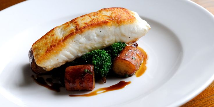Award-winning chef, Dominic Chapman, serves pan-fried halibut with earthy wild…