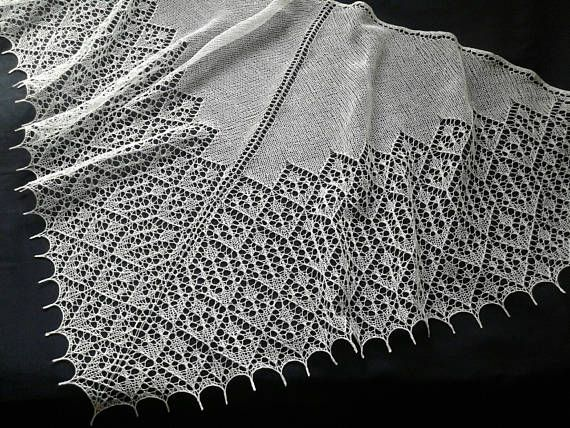 Wedding Linen Shawl. Hand Knitted Lace Triangular White Summer