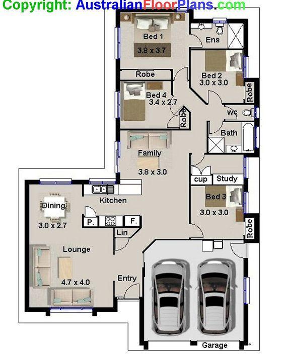 175 m2  Narrow Lot  4 Bedroom house plans  by AustralianHousePlans