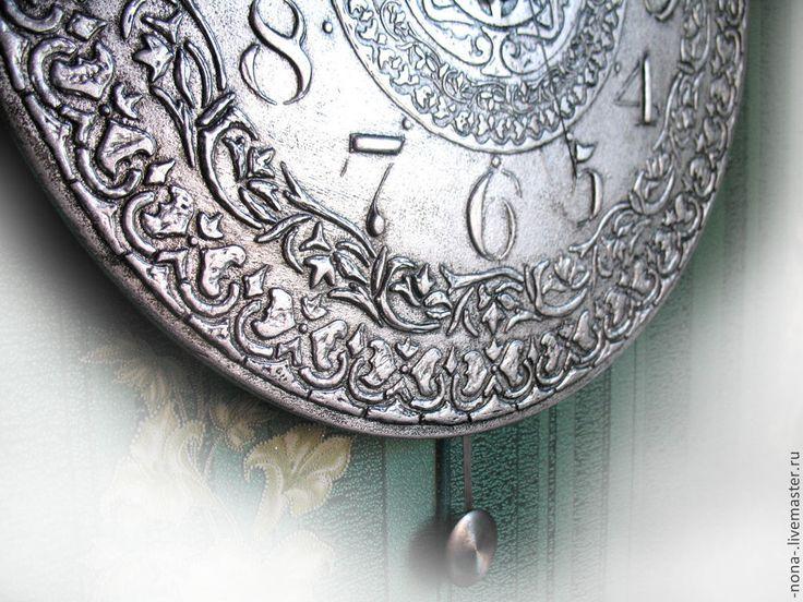 """Купить Большие часы с маятником """"Серебряный век"""" интерьерные - интерьерные часы, ходики, винтажные часы"""