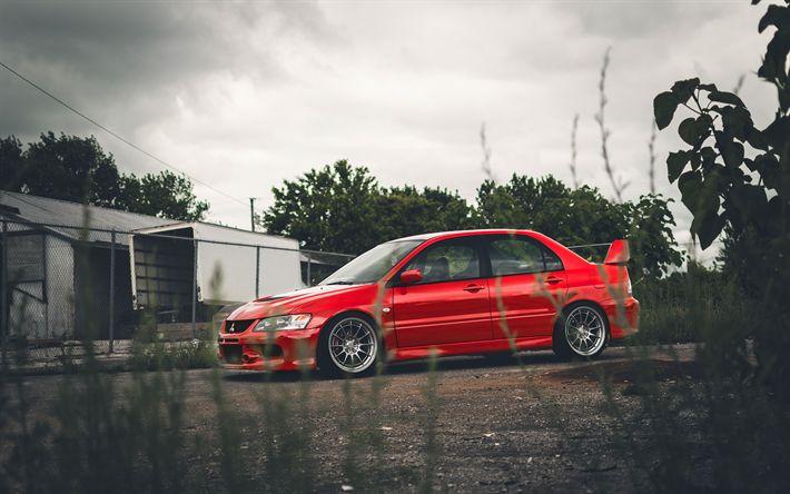 Download wallpapers 4k, Mitsubishi Lancer Evolution VIII, tuning, JDM, red Lancer, japanese cars, Mitsubishi