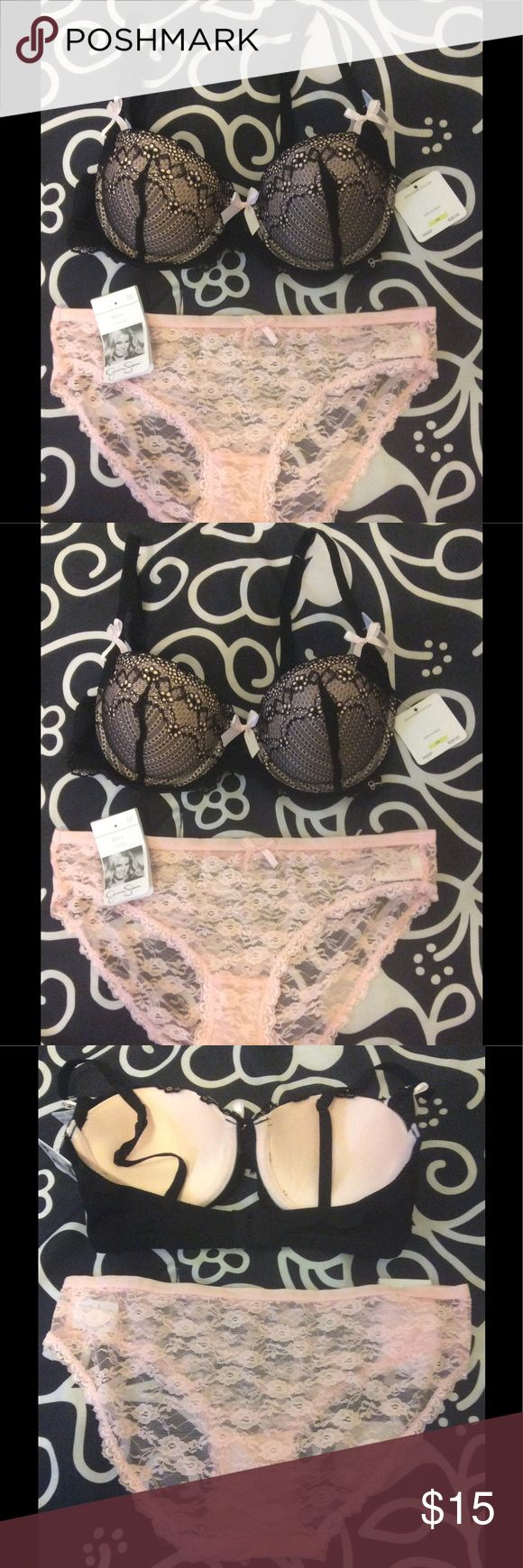 Jessica Simpson Lacy Bow Bra w/ free panty 👙Bra Details: 90% nylon, 10% spandex👙Panties: size M 90% nylon, 10% spandex 👙Free size S thong in dark pink available if size M shown is too big. Please specify in the comments if you would like the alternate gift with purchase in size S. Jessica Simpson Intimates & Sleepwear Bras