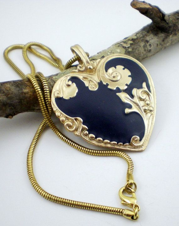 Blue and gold vintage necklace...love the scrollwork! (paleorama on etsy)