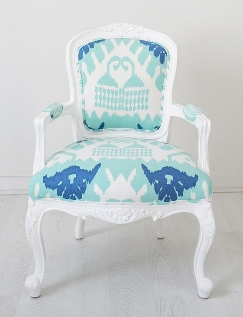 Navy/Royal blue Ikat Louis chair - Kristy Lee Interiors