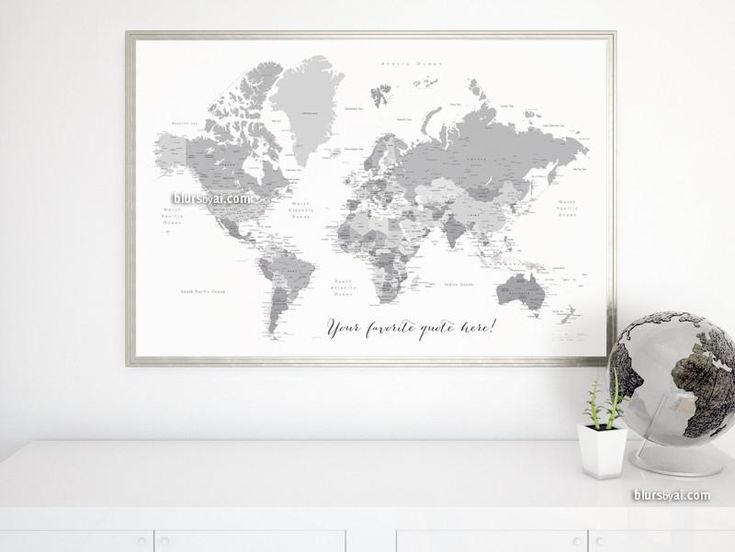 """Custom quote – printable world map with cities, capitals, countries, US States… labeled. Light grayscale. Color combination """"In the city"""""""