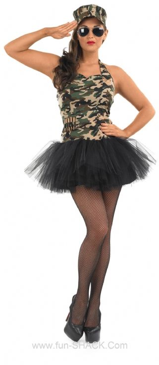 Commando Tutu Girl Army Fancy Dress Costume Fun Shack