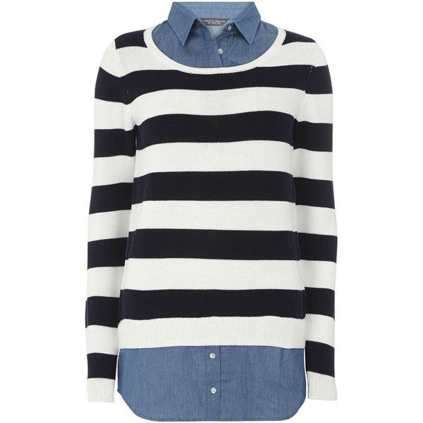 Dorothy Perkins **Tall Stripe and Denim 2 in 1 Top (£26) ❤ liked on Polyvore featuring tops, blue, denim top, white shirt, white top, striped top and striped shirt