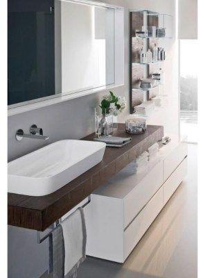 mensola piano lavabo in legno massello color wenghè 150x50x6