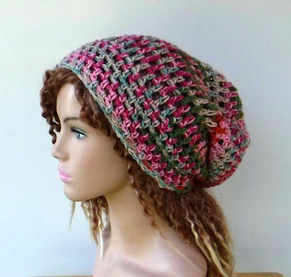 Summer slouchy hat gelato pink hippie small dreadlocks beanie