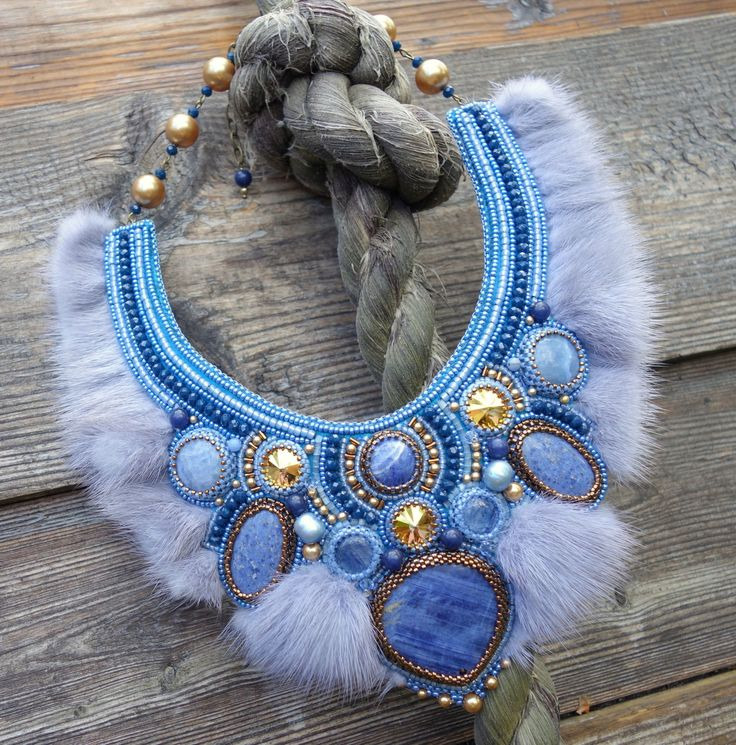 """Buy Beaded Necklace """"Karelia"""" - blue, grey, necklace, embroidered necklace, fur necklace"""