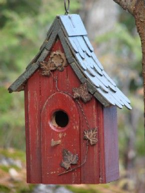 The sloping roof top of the 'Bird House Shingle Roof' is a terrific design that will make this bird house a welcome addition to any existing garden décor. The dull red color of the house gives a rustic patina and the unusually sloped and shingled roof is the outstanding feature that makes this a truly unique bird house. $35 Available at www.mondusdistinction.com