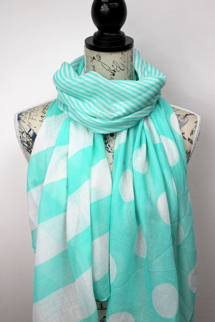 Mint Scarf - Polka Dot Scarf - Geometric Scarf - Printed Scarf - Unique Fabric Scarf - Viscose Scarf - Womens Fashion Scarf - Gift Idea (17.00 EUR) by LocoTrends