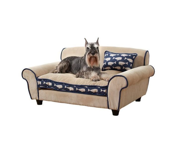 Dog Bed Couch Navy Whales Pet Sofa Drafts Free Sleeping New Home Canine Supplies | eBay