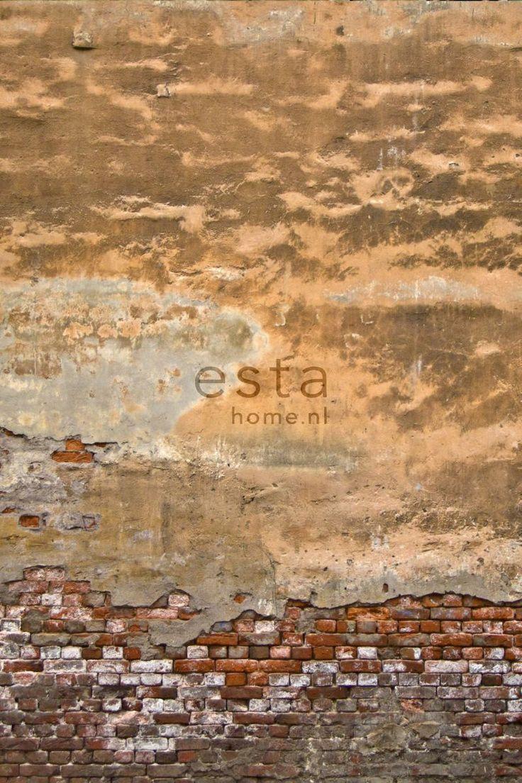 Betong på tegelvegg. Fototapet fra kolleksjonen Denim & Co. #Wallpaper