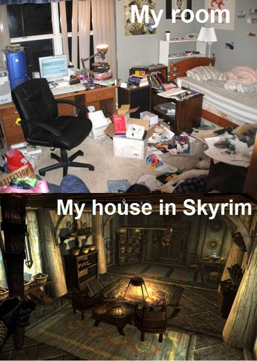 My house in skyrim has plates and bowls everywhere. I accidently used my unrelenting force shout