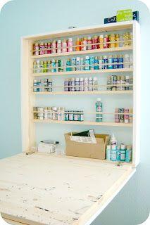 Framed Hidden Desk. Craft Paint StorageStorage ...
