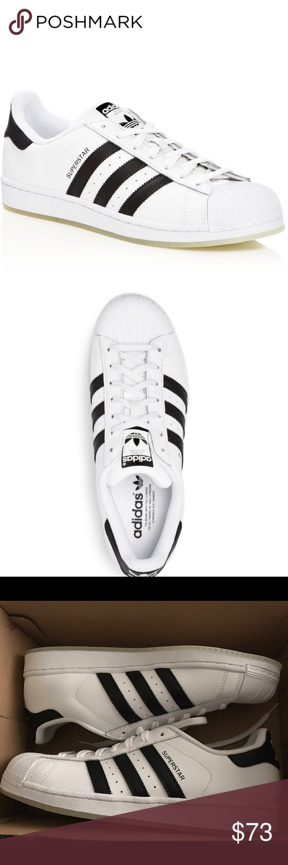 ADIDAS Superstar Men's Fashion Sneaker White/Black Brand new Adidas Men's Superstars! Always trendy! Available sizes: US 10 / EUR 44 & US 9.5 / EUR 43 1/3 . Please let me know which size you want.  The classic shell toe Superstars from Adidas are a true laid-back classic that instantly elevate any off-duty look.  Leather/synthetic/textile/rubber Fits true to size Leather & synthetic upper with perforated detailing, textile lining Rubber sole & cap toe Logo at tongue, sides & heel. Brand new…