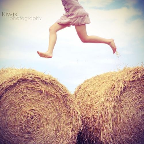 princess-make-it-rain-glitter:    What kind of childhood did you have if you don't have any memories from jumping hay bail to hay bail?