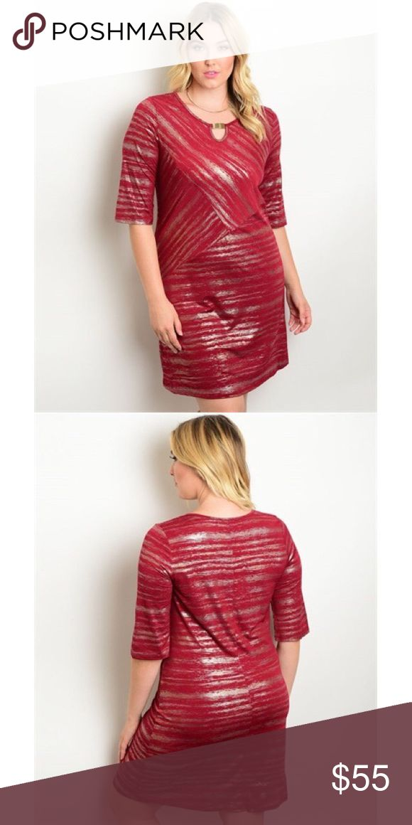🆕 Burgundy Gold Plus Size Dress Plus Size 3/4 sleeve metallic print. Perfect as a holiday dress 😍😍😍 95% polyester 5% spandex. No trades. No lowball offers. Dresses