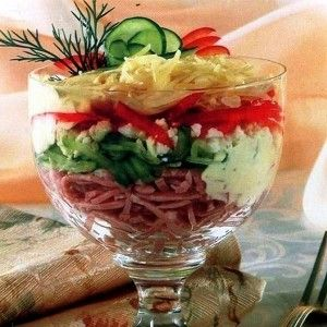 Слоеный салат-коктейль с ветчиной и болгарским перцем рецепт – салаты с сыром: салаты. «Афиша-Еда»