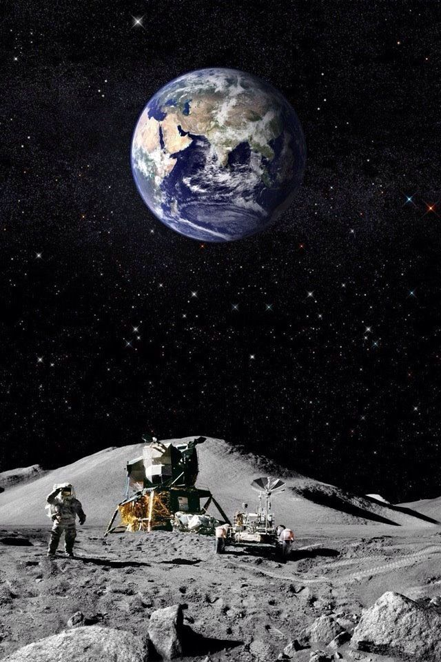The possibilities of men looking towards Earth from the Moon and being able to travel back home.