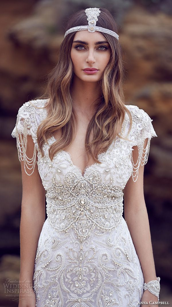 dress cap sleeves v neckline beaded embellished bodice gorgeous fit to flare mermaid wedding dress sierra close up