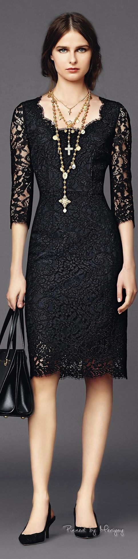 ♔Dolce & Gabbana.2015♔ loving sheer black (and lace always) for evening this spring